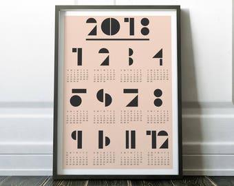 2018 Calendar, Wall Calendar, Handmade Calendar, Calendar, 2018 Wall Calendar, 2018 Art Calendar, Wall Calendar 2018, Minimalist Calendar