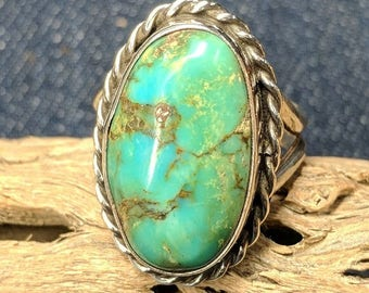 Sterling Silver - Royston Turquoise Split Shank Ring