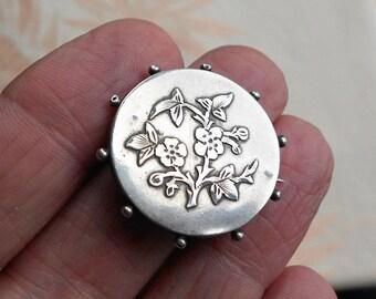 Antique Victorian Silver Floral Brooch, Chester Hallmark, Sweetheart Brooch