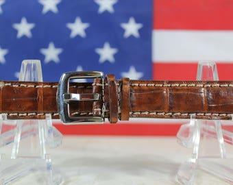 Genuine Brown Alligator Leather Skin Watch Strap 18mm (Made in U.S.A) #105