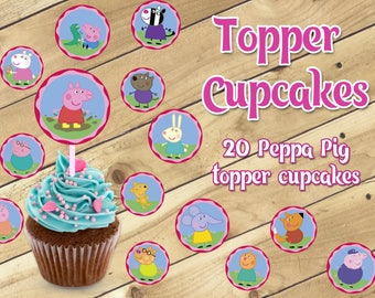Peppa Pig topper cupcakes, Peppa topper cupcakes, Peppa Pig Party, Peppa Party, Instant dowload, Peppa Pig birhday, Peppa birthday, cupcakes