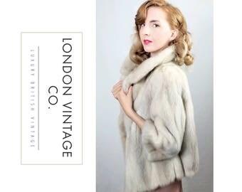 Vintage rare pale grey/blue/silver/ azurene mink real fur coat/jacket/bolero. perfect bridal piece