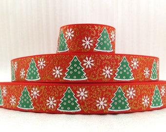 "Christmas Trees Grosgrain 7/8"" Printed Ribbon, Christmas Ribbon"