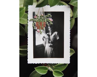 """Unique - vintage photography n.26 """"Sweet Home"""" - cross stitch - hand embroidered June B. Kitsch - JBK"""