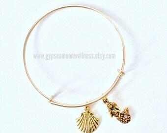 Gold Mermaid, Seashell Adjustable Charm Bangle Bracelet Lead Free Handcrafted Jewelry Boho Chic Fashion Style Handmade Jewelry Beach Ocean