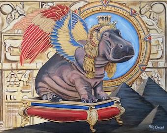 Egyptian Hippo Fine Art Print, Goddess, Animal, Stargate, Heaven, Original Art, Unique Gift, One of a Kind, Fantasy, Surrealism, Painting