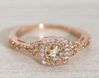 Rose Gold Halo Champagne Promise Ring /Champagne Color Engagement Ring #998