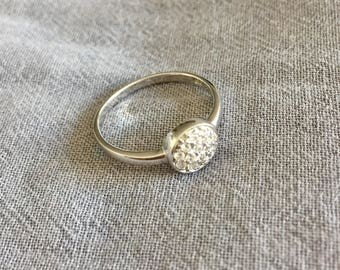 Silver ring with small crystals