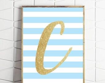 70% OFF SALE boys room nursery wall art, letter C printable, blue and gold letter print, letter C printable, letter C print, monogram C art