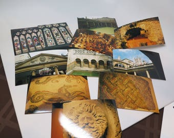 Photos of Britain Stained Glass Bath Roman Ruins for Cards Vintage Lot of 10