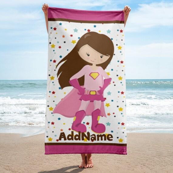 Pink Girl Superhero Personalized Beach Towel | Personalized Beach Towel | Personalized Kid's Beach Towel | Custom Personalized Beach Towel