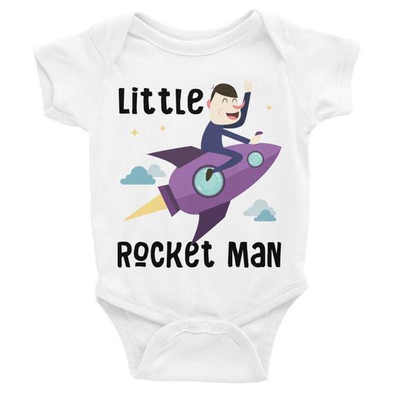 Funny Little Rocket Man Bodysuit Baby Onesie, Funny Onesie, Funny Baby Onesies,Funny Onesies For Boy, Funny baby bodysuit,Cute baby onesies