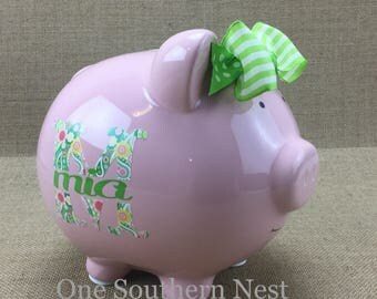 Personalized Pearhead Piggy Bank with floral letter and name.  The Perfect gift for baby shower, birthday, or Christmas.
