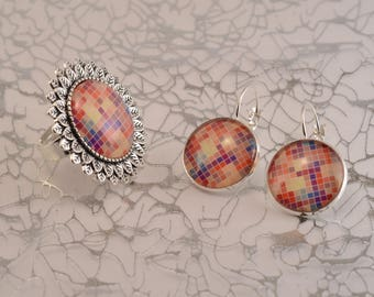 Ring and earrings small multicolored squares set