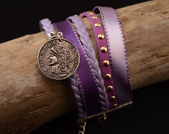 Lilac and purple cuff with coin charm bracelet