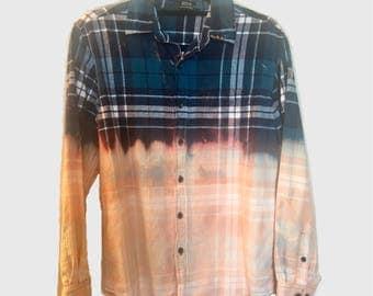 Vintage Bleached Plaid Flannel 90s Grunge Shirt