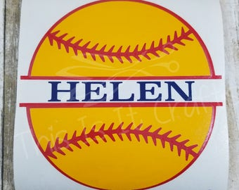 Softball Decal -  Personalized Softball Decal - Sports Decal - Personalized Sports Decal - Water Bottle Decal - Vinyl Decal - Car Decal