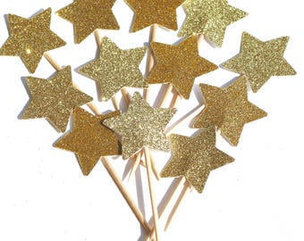 12 gold glitter star cupcake toppers, wedding cupcake toppers, glitter star cupcake toppers, gold star cupcake picks, gold cupcake toppers