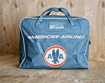 Vintage American Airlines Flight Bag/ c. 1960s/Vinyl Travel Bag/ American Airlines Tote