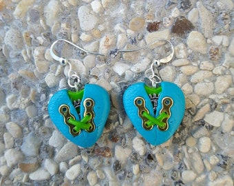 Blue and green hearts in polymer clay steampunk earrings