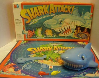 Vintage SHARK ATTACK Board Game by Milton Bradley 1988 Complete used