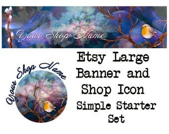 ETSY LARGE COVER Set-Fantasy Etsy Cover Photo-Premade Banner,Etsy Set-Bird Banner- Etsy Large Cover,Mystical Large Cover, #125