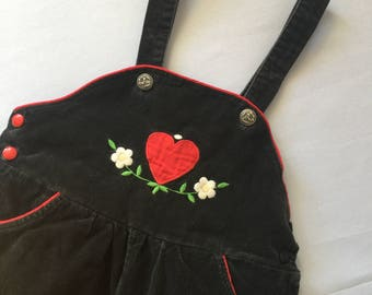 Adorable vintage hand embroidered overalls | girls | toddler | 3T