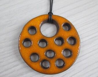 orange ceramic pendant, ethnic ceramic necklace, pottery handmade, artistic pendant, bohemian pendant, ceramic jewelry, gift for girl