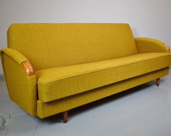 Mid Century Retro Vintage Danish Wool Sofa Day Bed Studio Couch by Lifa 50s 60s