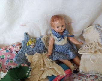 "Effanbee 6"" Wee Patsy doll with wardrobe, 1930s"