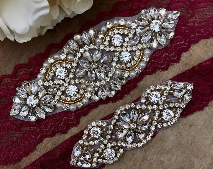 Burgundy and gold Red Wedding Garter Set NO SLIP grip vintage rhinestones