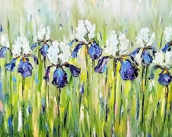 Original oil painting Irises oil painting Iris painting Flower Painting Still life painting Purple Iris Flower Painting Living room wall art