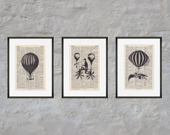 Prints set of 3 - BALLOONS - Antiquarian Book page