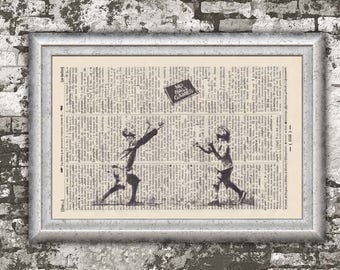 Print BANKSY No. ball games on antique book page - landscape