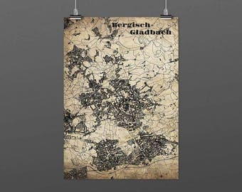 Bergisch Gladbach DIN A4 / DIN A3 - print - turquoise