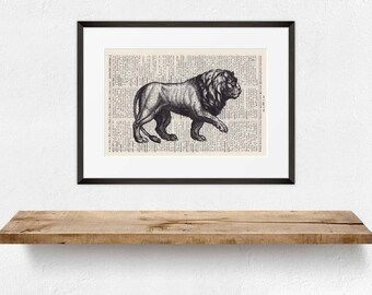 Print Lion-on antique page