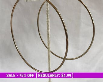 Vintage Large Hoop Earrings, Gold Tone, Copper Tone Hoops, Statement, Estate Jewelry