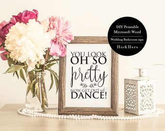 printable wedding bathroom signs 8x10 wedding reception Get Out There and Dance Sign Printable Wedding Bathroom wedding bathroom signs printable
