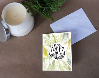 Floral Leaves Happy Birthday Card