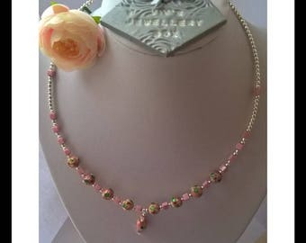 Delicate pink memory wire necklace