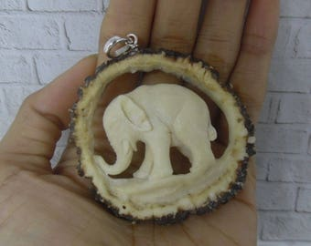 Pendant Necklace 3D Elephant Mammoth from Deer Antler Carved with Silver Bail_z546