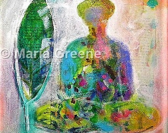 Buddha, original painting, abstract, wall art, spiritual art, inspirational
