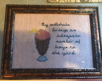 "Kelis inspired ""milkshake"" cross stitch"
