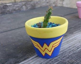 Wonder woman character handpainted terra cotta pot flowerpot