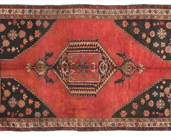 """5'0""""x7'8'' A museum piece old sivas fine weaving Vintage Rug, Turkish Anatolian area Rug,  red black 6x9 area rug, red oushak oriental rugs"""