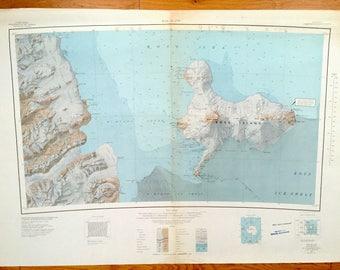 Antique Ross Island, Antarctica 1962 US Geological Survey Topographic Map – McMurdo Sound, Shackleton's Hut, McMurdo Station, Mount Erebus