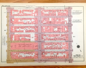 Antique Manhattan, New York Map from Bromley's 1955 Manhattan Land Book – Chelsea, East River Piers, West Side