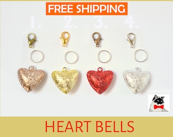 Cat heart bells for cat collars - pretty accessory for cat collars