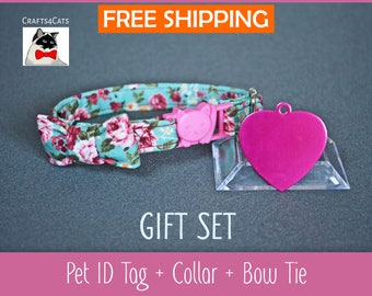 Fancy kitten collar mini gift set - Cat ID tag pink heart with breakaway collar & bow tie and bell - kitten collar - cat collar