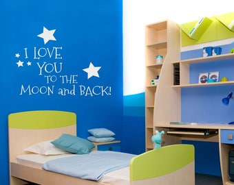 I Love You to the Moon and Back Quote Vinyl Wall Decal Wall Sticker